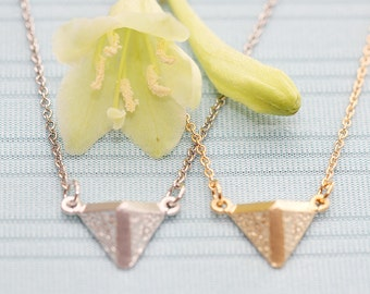 Gold or Rhodium Plated, Simple 3D Diamond Shaped Charm, Color is Your Choice, Necklace