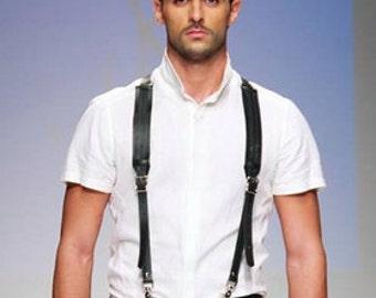 Men's Leather Suspenders, Black