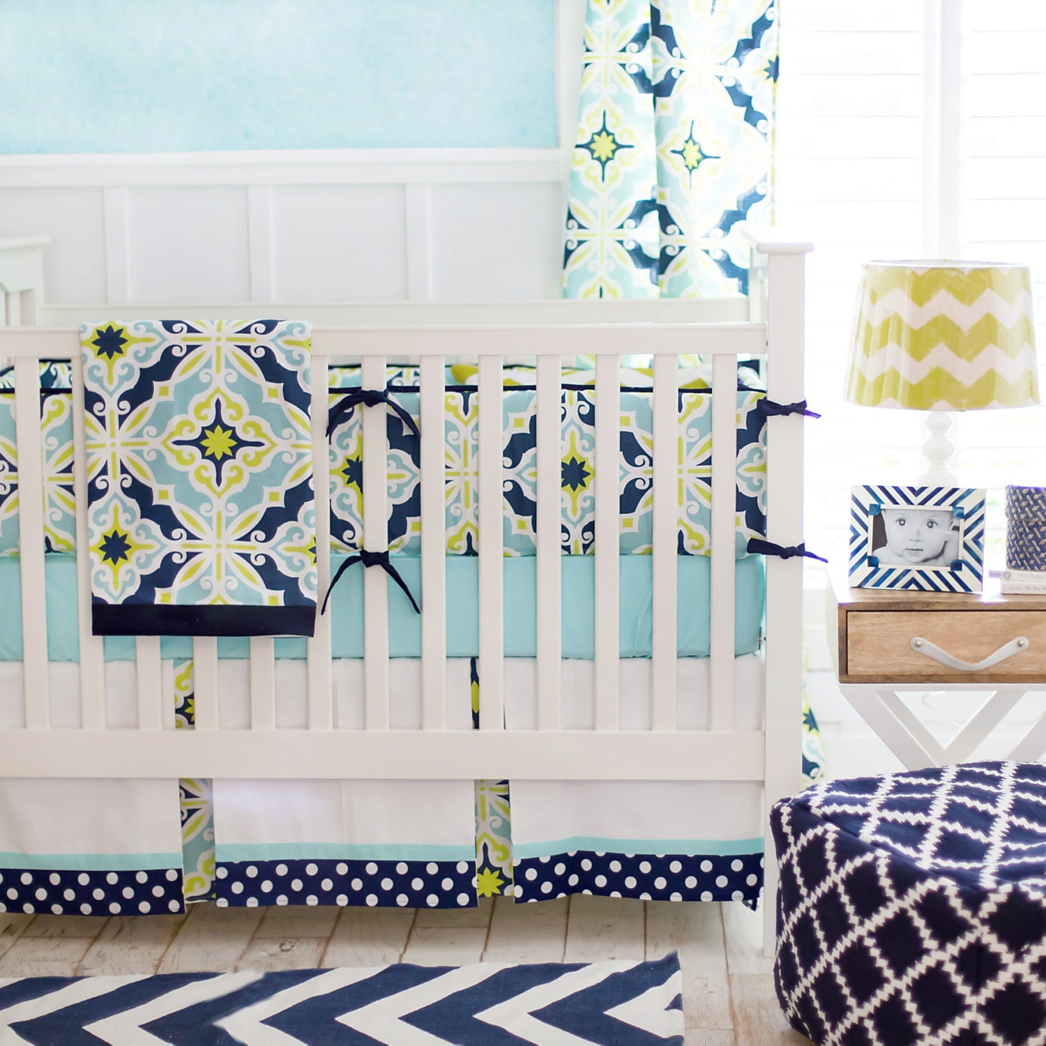 Navy aqua amp lime green baby boy bedding by newarrivalsinc on etsy