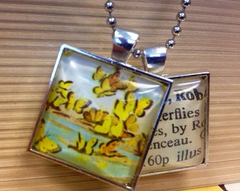 Yellow Butterfly Spring Vintage 1975 illustration and library card catalog double pendant necklace