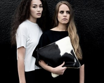 Black + White Cowhide Fold Over Clutch | Hair on Hide | Bag | Purse | Foldover | Pouch