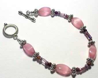 Bracelet Rose Quartz Bracelet  Pink Bracelet Glass Bead Bracelet