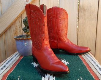 Vintage Cherry Red Women's Cowboy Boots Size 4 Pocono Western Brand