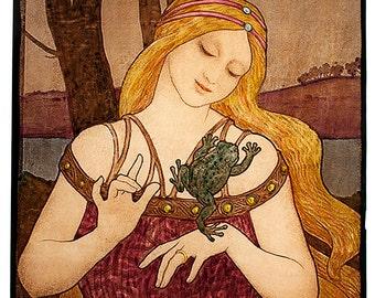 Princess with toad, art nouveau stained glass, kilnfired glass painting, handpainted, vitrail, princess, La Princesse au Crapaud, jugendstil