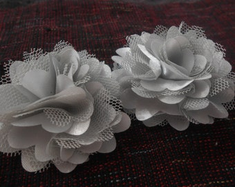 Grey Lace Flower, Satin flower,Shredded Lace Flower, 2 inch,Wholesale Supply Flowers for Headband and other DIY