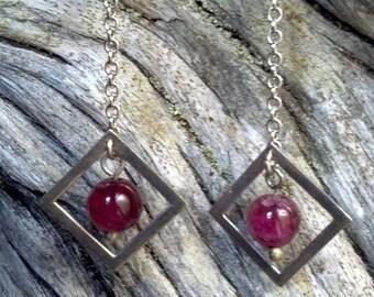 Geometric Sterling Tourmaline Dangle Earrings