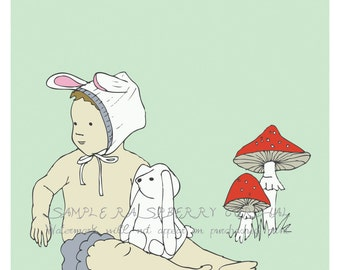 Children's Wall Art Print- Baby Nursery Art- Illustration  - Bunny Boy