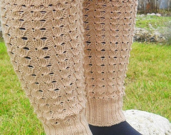 Hand knit leg wear, long leg warmers, boot cuffs, spats boot cover in ivory, cream color
