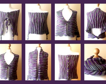 Hand Knit Scarf, Hand Knitted Cape, Collar Scarf, Wrap, Bolero, Cowl Scarf in purple melange colors