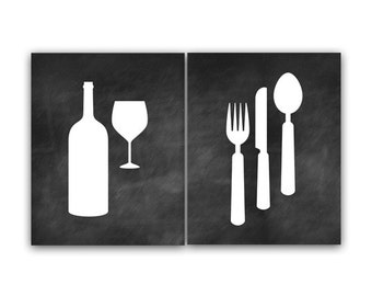 Home Decor Wall Art, Chalkboard Kitchen Art, Fork and Spoon Wall Decor, Wine Glass Art, Chalkboard Art Print, Kitchen Decor - HOME63