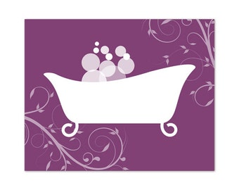 Bathroom Wall Art Purple Bathroom Decor Instant Download Purple Bathtub Art Home