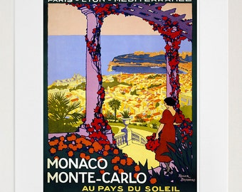 France Art Print Monte Carlo Vintage Travel Poster (TR85)