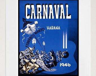 Havana Cuba Art Print Carnival Vintage Travel Poster (TR84)