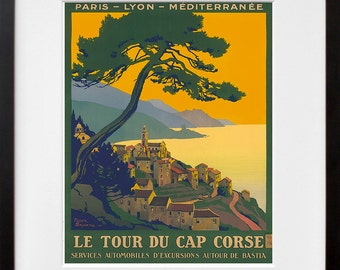 France Art Print Corsica Travel Poster (TR100)