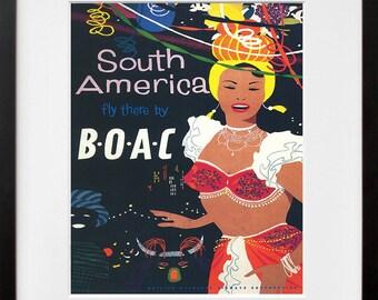 South America Travel Poster Art Print Retro (TR115)