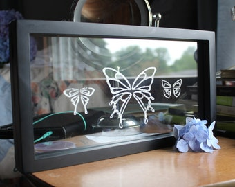 Handcut Paper Butterfly Wings in Double Pane Frame