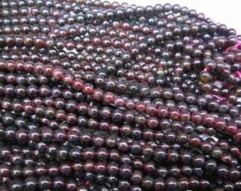 5mm garnet round beads, 15.5 inch