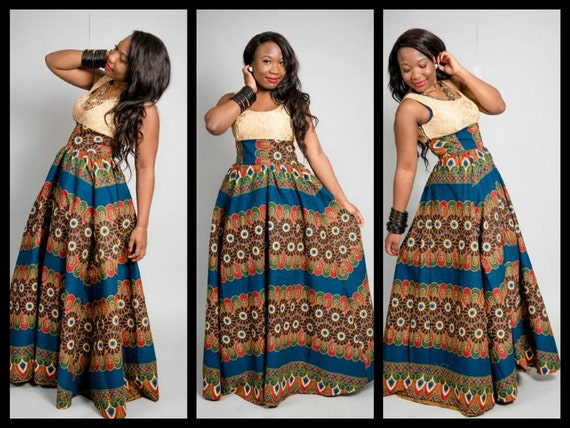 Long african ankara dress by missbeidafashion on etsy