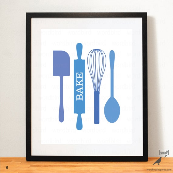 Kitchen Print Kitchen Wall Art Purple Kitchen Decor Gratitude: Items Similar To Gift For Baker, Blue Kitchen Decor