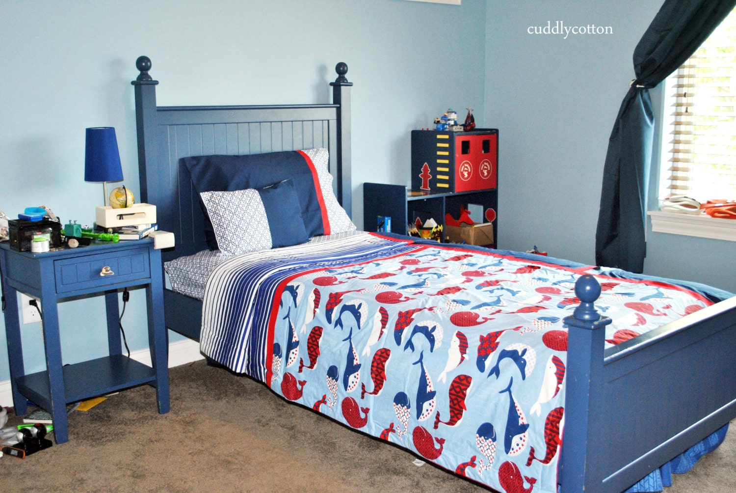Nautical Whales Twin Bedding Whales Red Blue And By