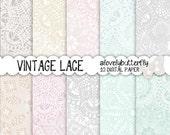 Vintage lace digital paper, wedding invitation digital, lace digital, vintage bridal clipart, small comercial use, INSTANT DOWNLOAD