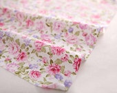 Shabby Chic 100% Twill Cotton fabric, beautiful Peony printed floral fabric, 1 meter Tilda style, Pink color rose fabric yardage 160cm*100cm