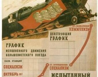 WW2 Russian Soviet Stalin Train propaganda poster