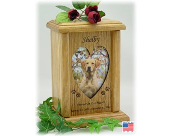 Medium (Vertical) Pet Urn - Wood Photo Pet Urn, Dog Urn and Cat Urn