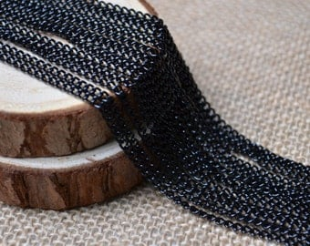 16ft of 4x2.8mm Oval Link Black Cable Chain,Iron Cross Chain,Black Small Chains,Open Link Twisted Chains-Uonnsoldered,Nickel and Lead Free