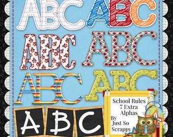 Alphabets - Digital Scrapbooking Kit School Rules Extra Alphabets Pack - Digital Scrap Kit