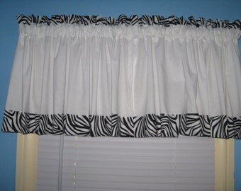 "Handmade SOLID White With 2"" Wide black White Zebra Print Window Curtain Valance"