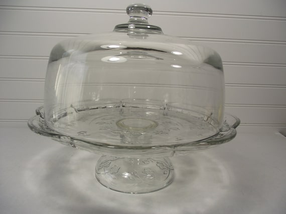 12 1950 S Vintage Glass Cake Stand With Dome Rose
