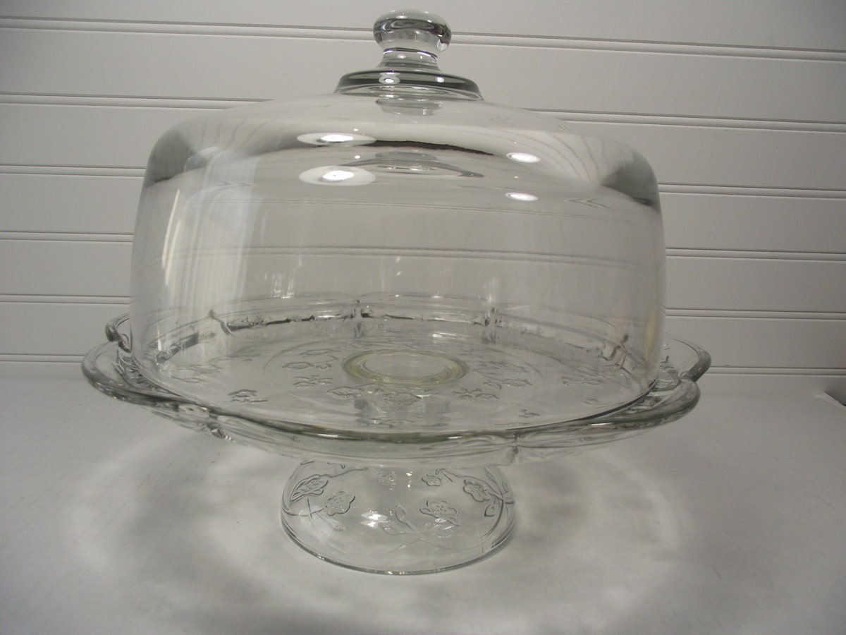 Large Glass Cake Stand With Dome