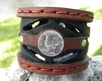 Genuine Buffalo Leather 2 inch wide Bracelet  wristband pick one coin only Mercury dime or Buffalo Indian Nickel,Aztec King or Itailan coin