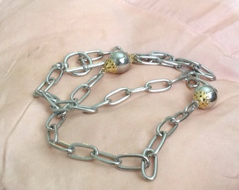 Retro Chain Link Silver Necklace
