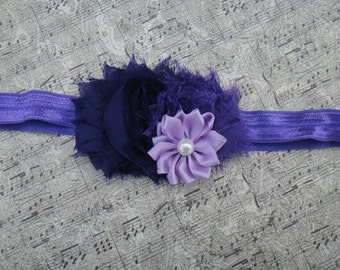 Trio Headband, Purple headband, Shabbies and satin flower headband