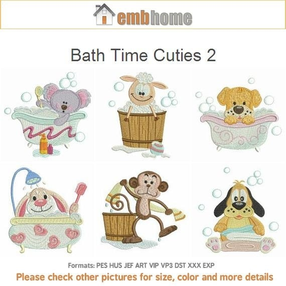 Bath time cuties 2 cartoon animal machine embroidery for Bathroom embroidery designs