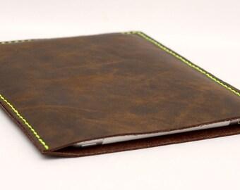 iPad Mini Leather Sleeve iPad Mini Leather Case Handcrafted Hand stitched  Dark Brown Oil Leather
