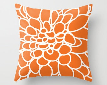 Abstract Flower Pillow Cover - Orange Modern Home Decor - includes insert
