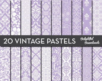 "Purple Floral Digital Paper ""20 VINTAGE PASTEL PURPLES"" with 20 purple floral damask digital papers for scrapbooking, cards, prints."