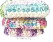 Crocheted Dishcloth/ Washcloths, Kitchen, Bathroom. 100% Cotton.  Spring Colors, set of 3 - ThisNThatByTracy