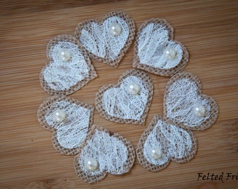 20 Piece Burlap and Lace Heart with Pearls