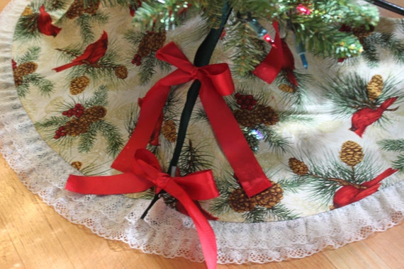 Vibrant Cardinals Sit Among The Pines On This 42 Circular Reversible Handmade Christmas Tree Skirt Trimmed
