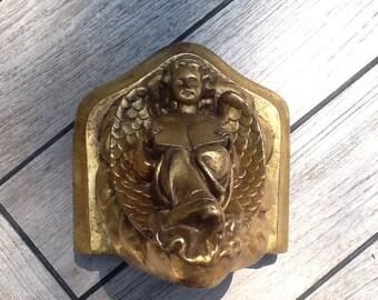Gilded plaster little plinth