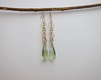 Peridot, Green Amethyst Quartz and Pearl 14K Rose Gold Filled Wire Wrapped Handmade Earrings