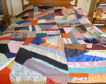 1940's Crazy Quilt Top Only     Free Shipping