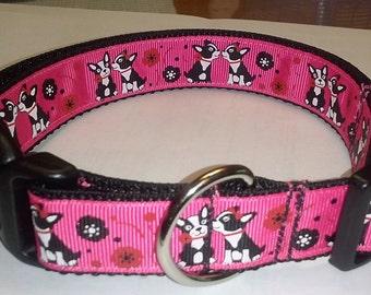 Adjustable Kissing Boston Terrier Dog Collar -- Medium dog size