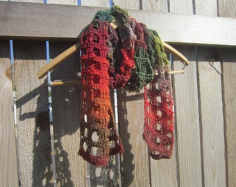 Crochet Scarf, Crochet Block Scarf, Crochet Variegated Scarf, Multicolored Scarf