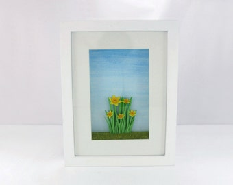 Original and Unique 3D Paper Sculpture 'New Beginnings' Small Shadow Box Frame