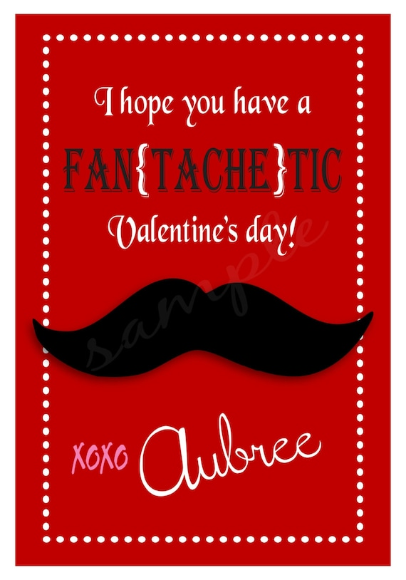Personalized Mustache Valentine Cards Boy or Girl Valentines – Mustache Valentine Cards
